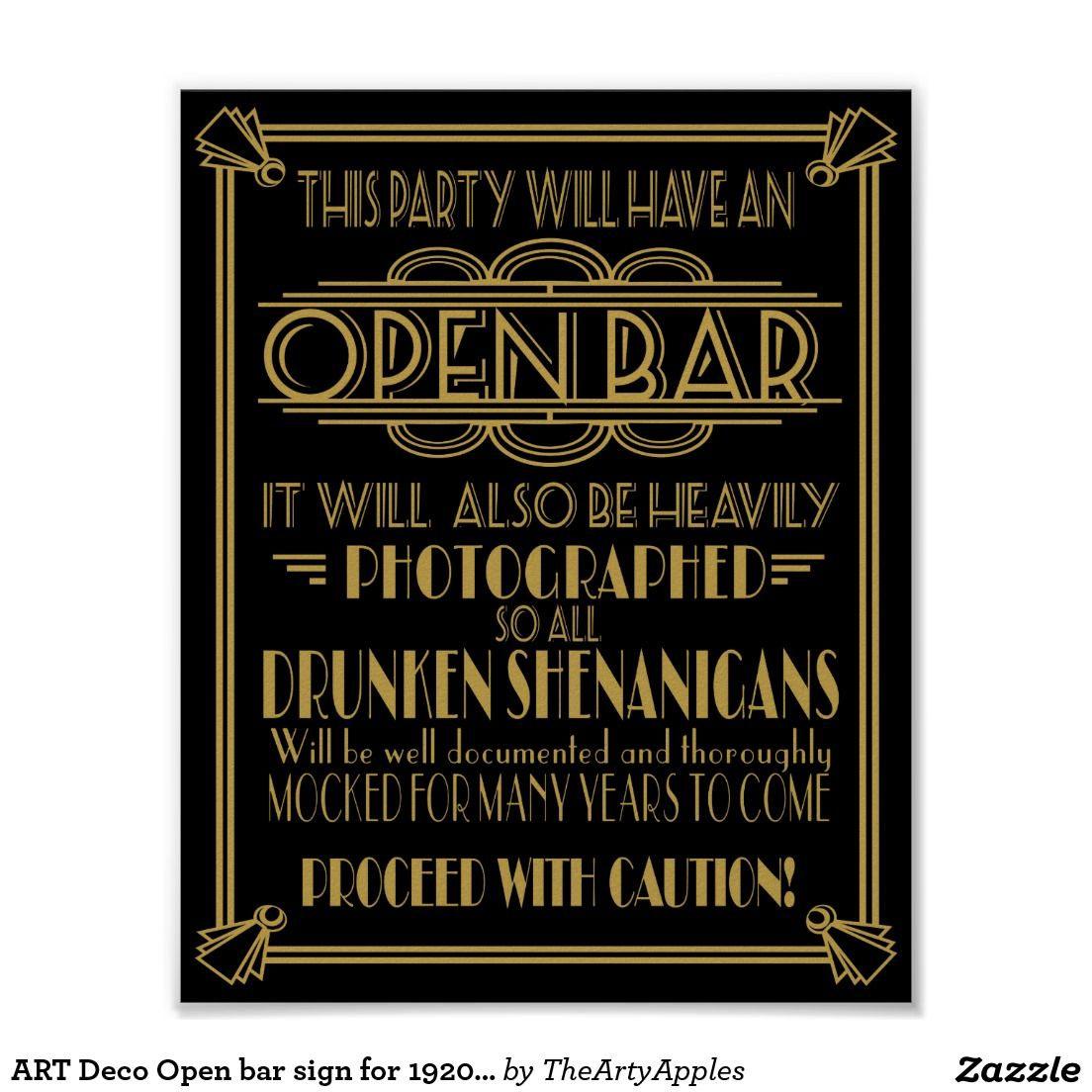 ART Deco Open bar sign for 1920\'s Gatsby Party | Gatsby party ...