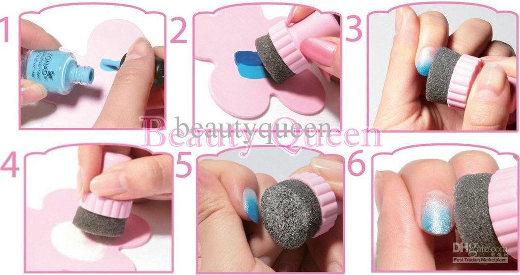 NEW Nail Stamping Sponge Kit DIY Rainbow Nail Art Stamp Set with 5x ...