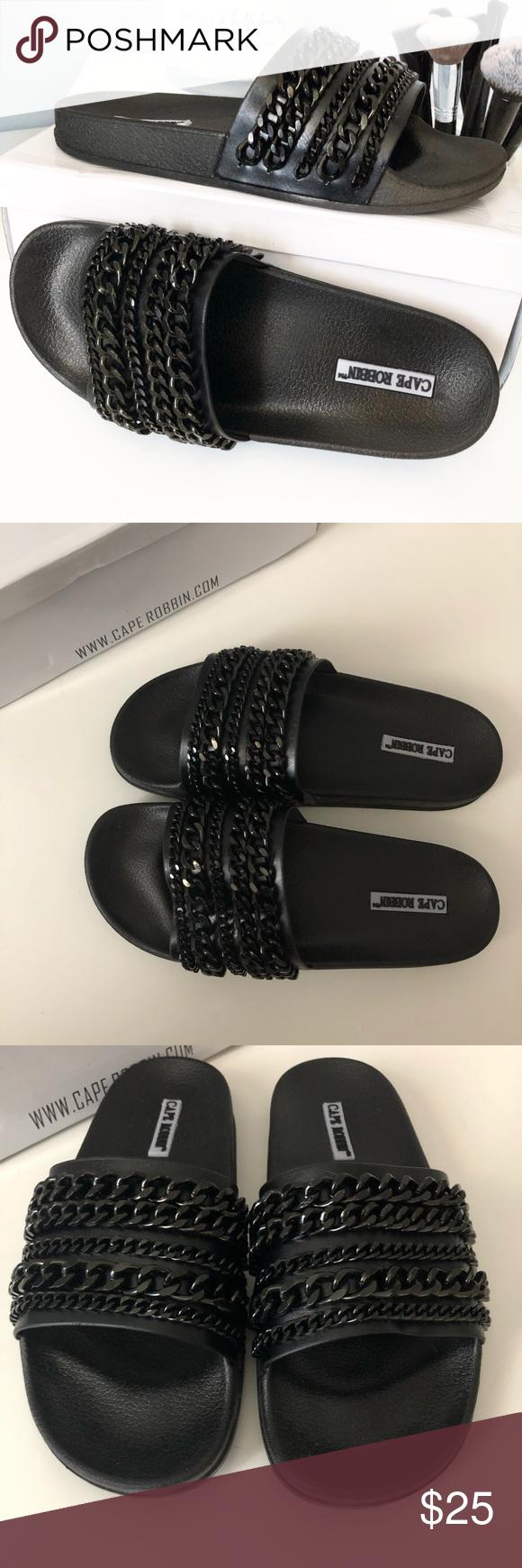 e823e07121b 💥FLASH SALE💥NIB Fashion Nova Black Chain Slides Brand new in box black  chain