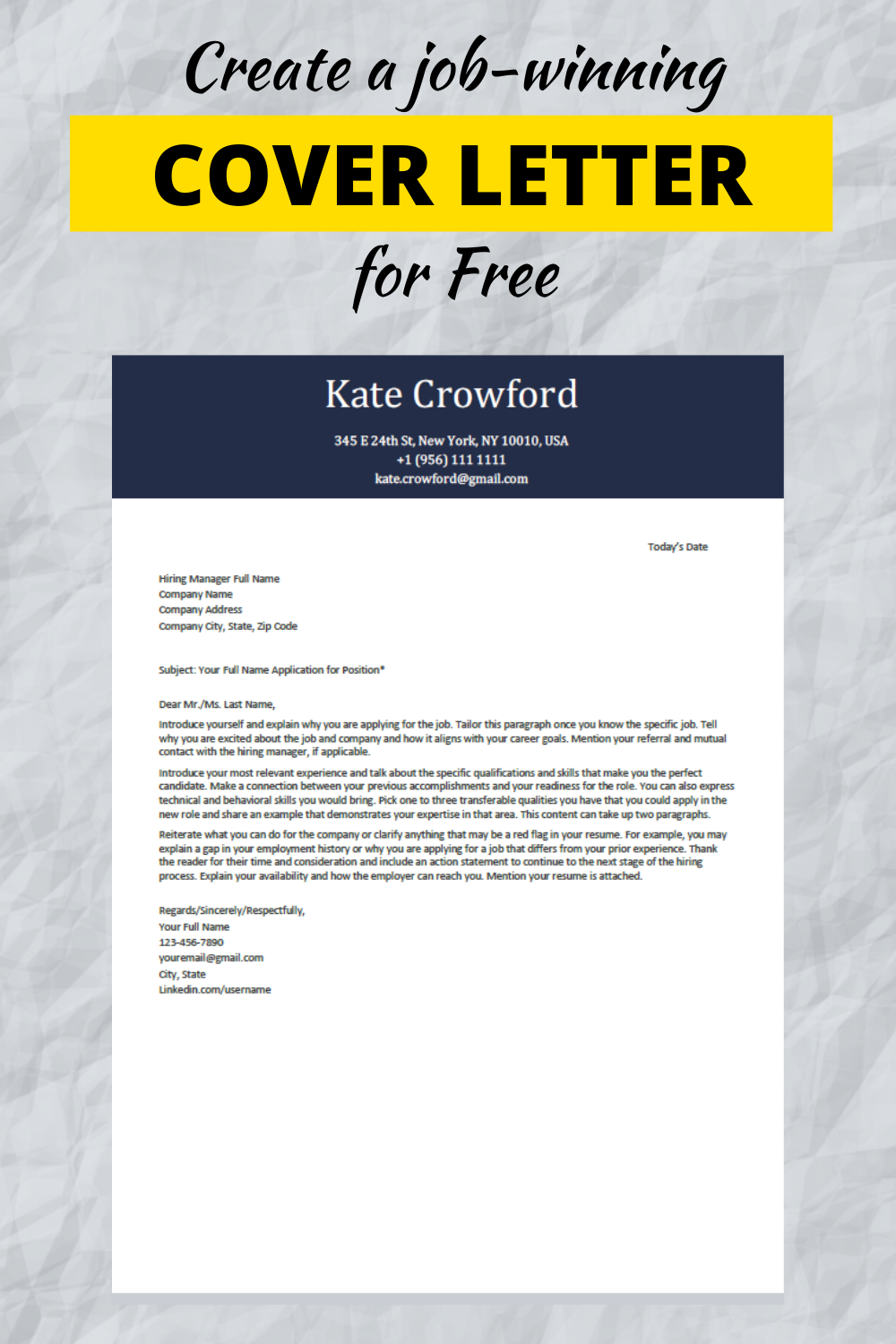 Free Cover Letter Templates To Download In 2020 Cover Letter