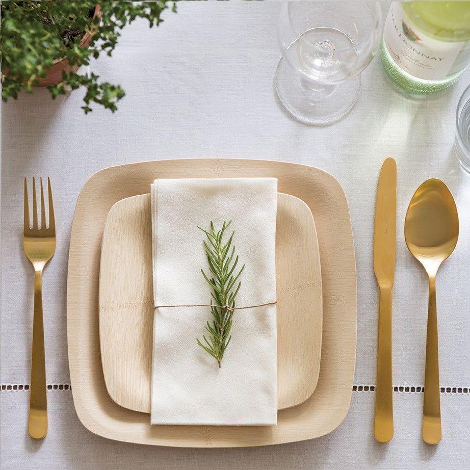 Veneerware® Disposable Bamboo Square Plates Disposable