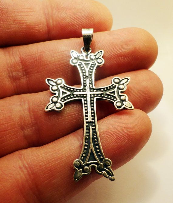 Sterling Silver Armenian Cross Engravable Dog Tag Pendant Necklace