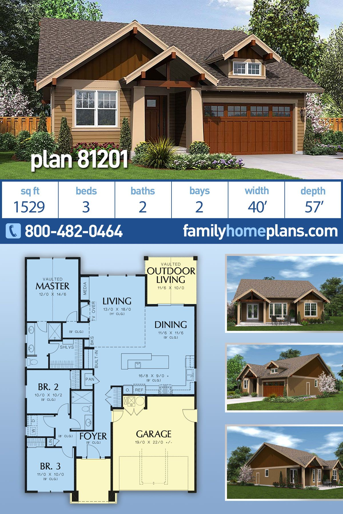 Craftsman Style House Plan 81201 With 3 Bed 2 Bath 2 Car Garage Craftsman Style House Plans Craftsman House Plans Ranch House Plans