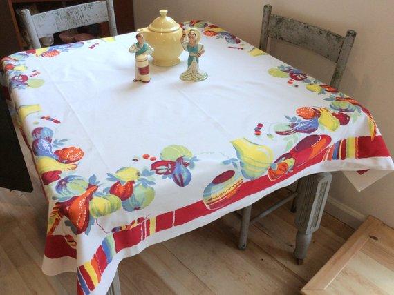 Vintage Wilendur Tablecloth Festive Mexican Pottery Gourds Retro
