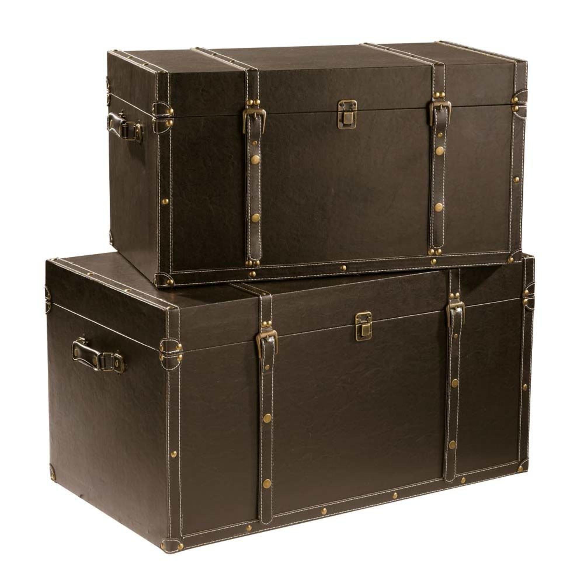 Cantine De Voyage Metallique 2 malles marrons | maison du monde, malle de rangement et malle