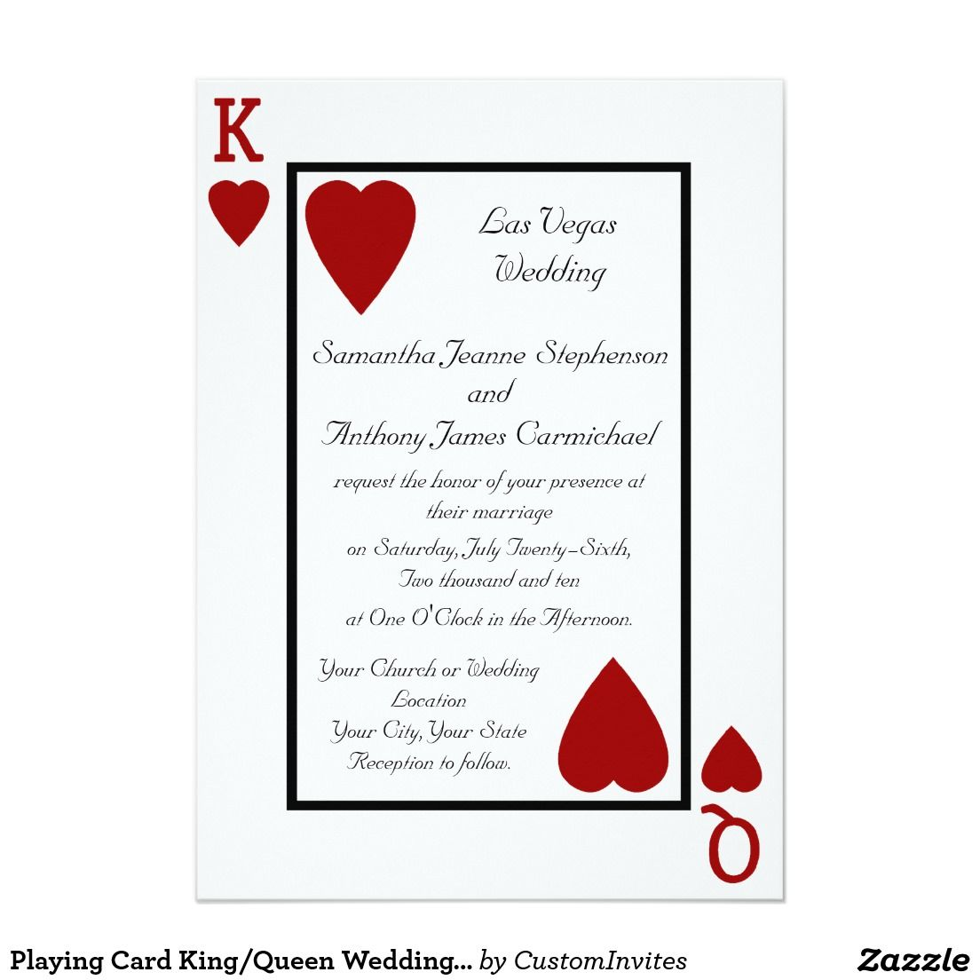 Playing Card King/Queen Wedding Invitations | King queen, Playing ...