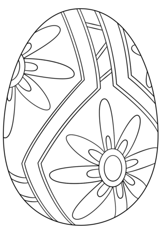 Easter Flowers Colouring Pages : Easter coloring pages easter egg with flower coloring page