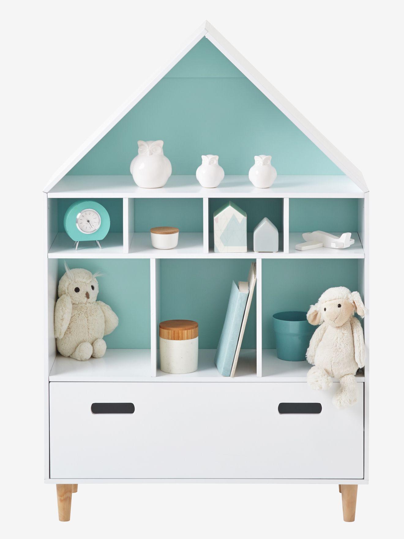 vertbaudet regal in hausform in weiß/blau | kinderzimmer, Hause deko