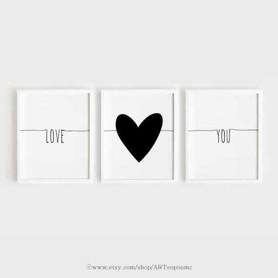 Instant Download Printable nursery art set of 3 Love you Poster Heart print Scandinavian Wall Art Black and White Baby room decor Kids print