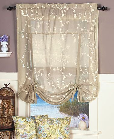The Savannah Embroidered Tie Up Curtain Has Lovely Floral Accents That  Spruce Up Your Room