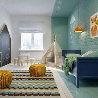 Chambre d\'enfant bleu, jaune, noir | Décoration chambre ...