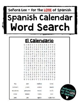 Calendar Days Of The Week In Spanish.Spanish Calendar Word Search Days Of The Week Months Seasons