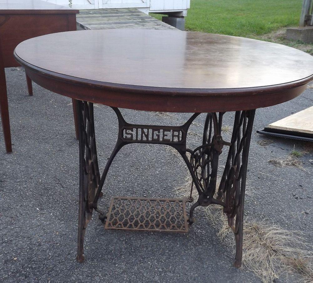 ANTIQUE Singer Treadle Sewing Machine Cast Iron Frame Base Round Walnut  Table