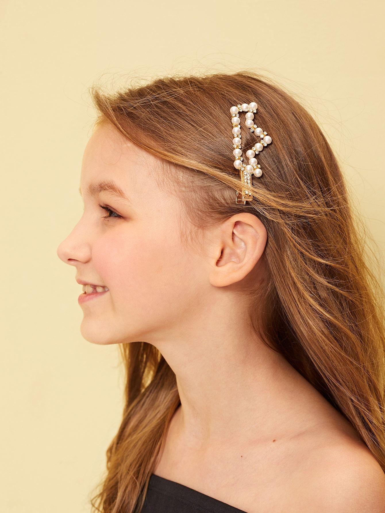 334918f7d Kids Rhinestone & Faux Pearl Decor Crown Hair Clip #hair #woman #fashion