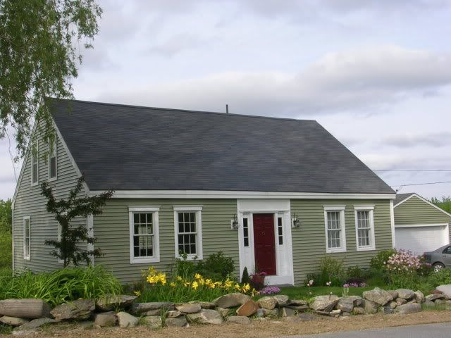 Cypress green siding with white trim and grey roof for Cypress siding cost