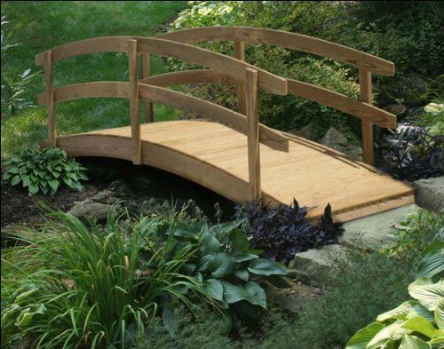 "3' x 4' Treated Pine Japanese Garden Foot Bridge by Fifthroom. $499.00. 4 ft L x 3 ft W; 34"" H (ground to top of rail); max span of 40""; capacity: 400 lbs. Made of pressure- treated pine w/ lifetime limited warranty against termites and decay fungi. Protected by 2 year limited warranty. Free Shipping. Hardware: Galvanized Nuts and Bolts. A Japanese Garden Foot bridge will bring whimsy and romance to any garden. Crafted from durable treated pine, the double rails are a c..."