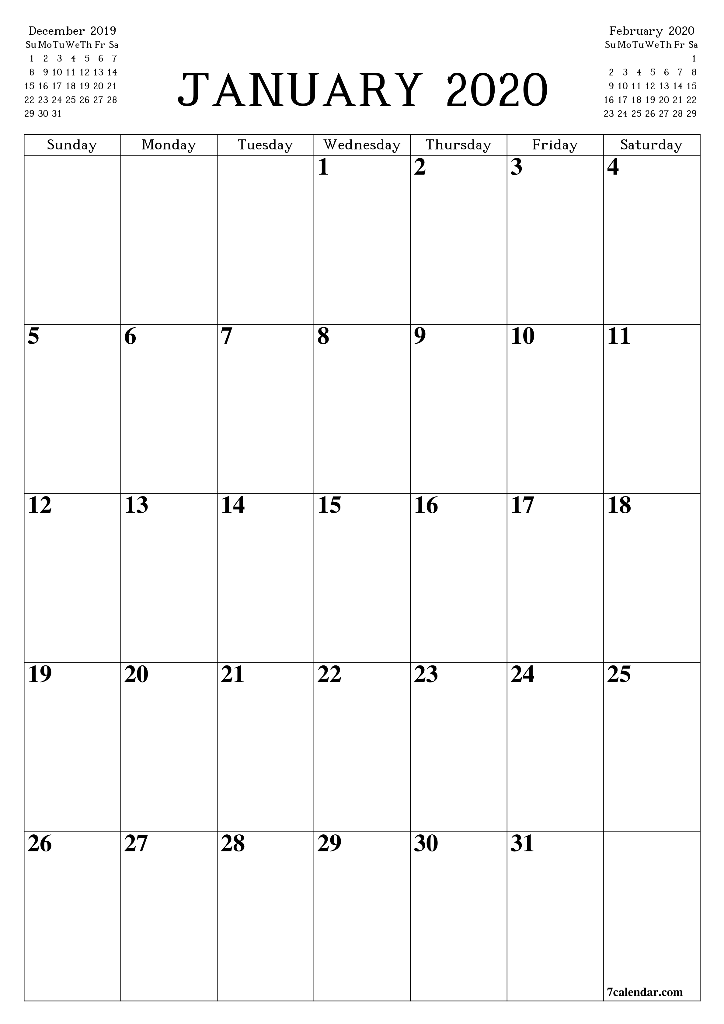 Printable Blank Calendar Planner A4 A5 And A3 Pdf And Png January 2020 7calendar Com In 2020 Blank Monthly Calendar Printable Blank Calendar Calendar Printables