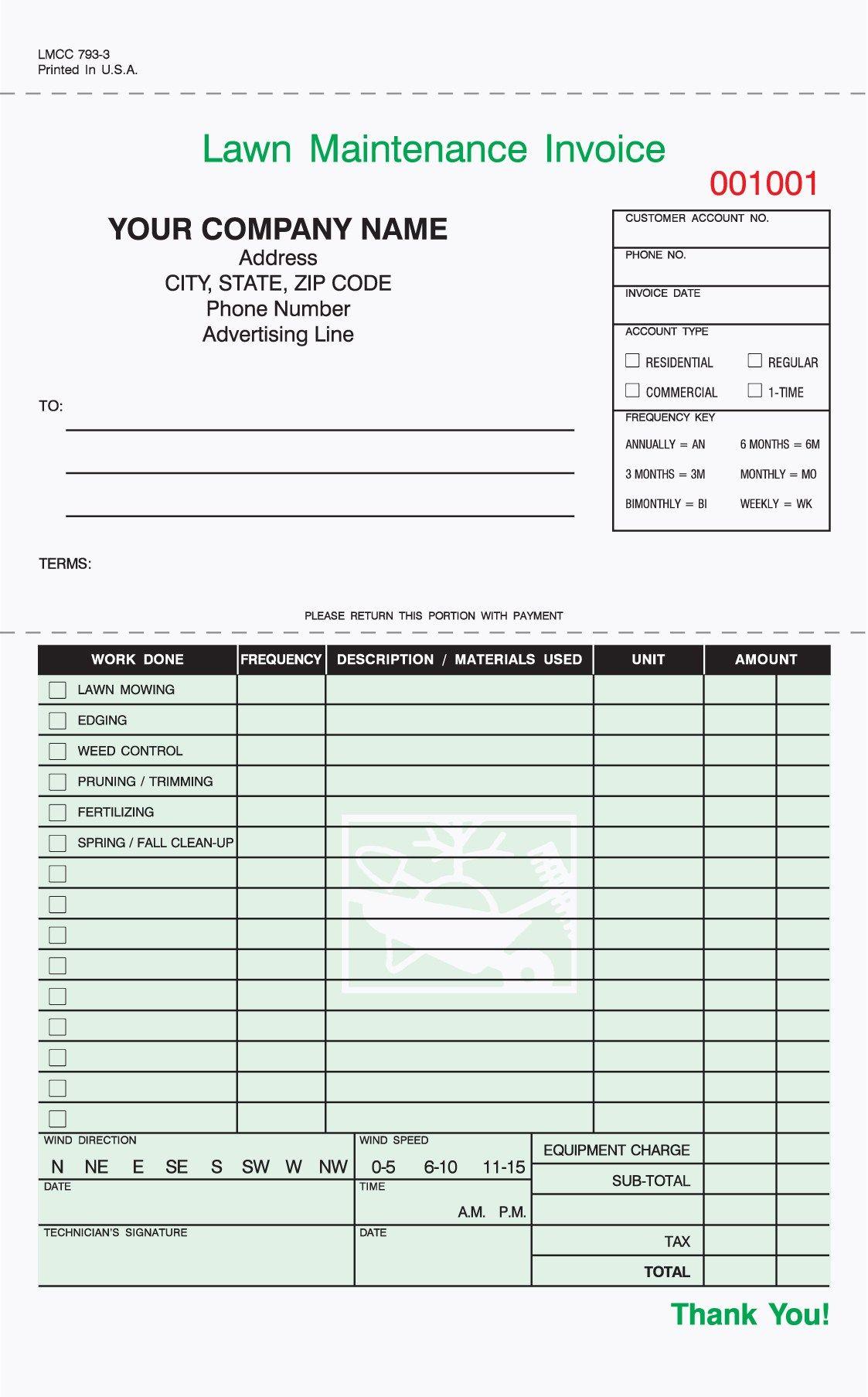 3 Part Lawn Care Invoice Carbonless 5 2 3 X 8 1 2
