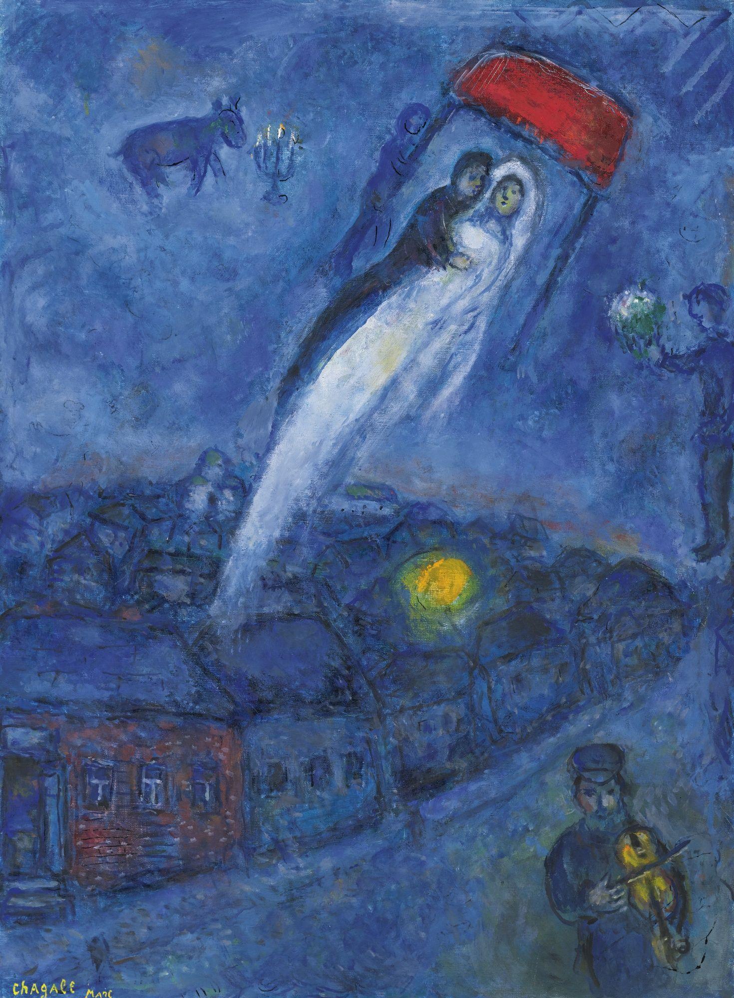 Marc Chagall VISION DES MARIÉS | Indigo cobalt and navy - Art ...