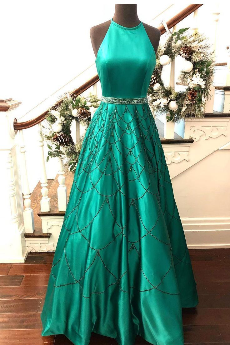 Elegant Halter Green Long Prom Dress with Sequins | Ball Gown ...