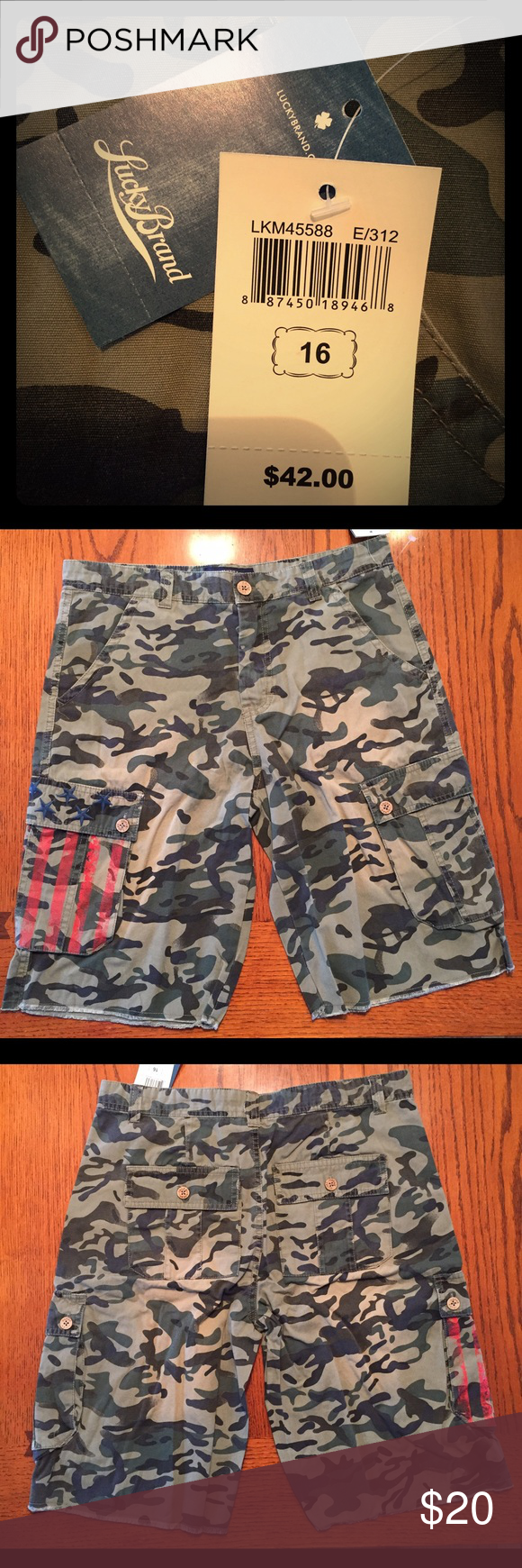New Boys Lucky Brand Camo shorts Boys Lucky Brand Camo shorts with stitched blue stars and printed red stripes on one pocket. Lucky Brand Bottoms Shorts