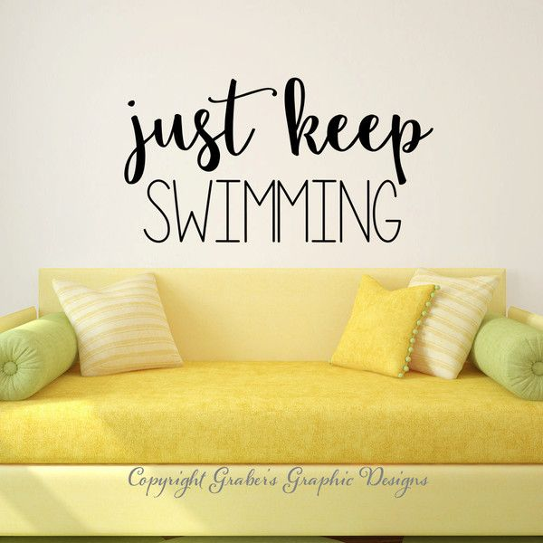 Just Keep Swimming Finding Nemo Dory Quote Vinyl Wall Decal Wall ...