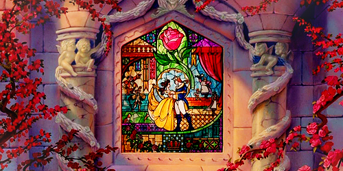 Image result for beauty and the beast stained glass