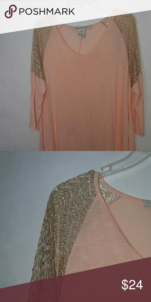 2x American Rag Tunic Top Peach and gold See thru gold knit from shoulder to elbow Tops