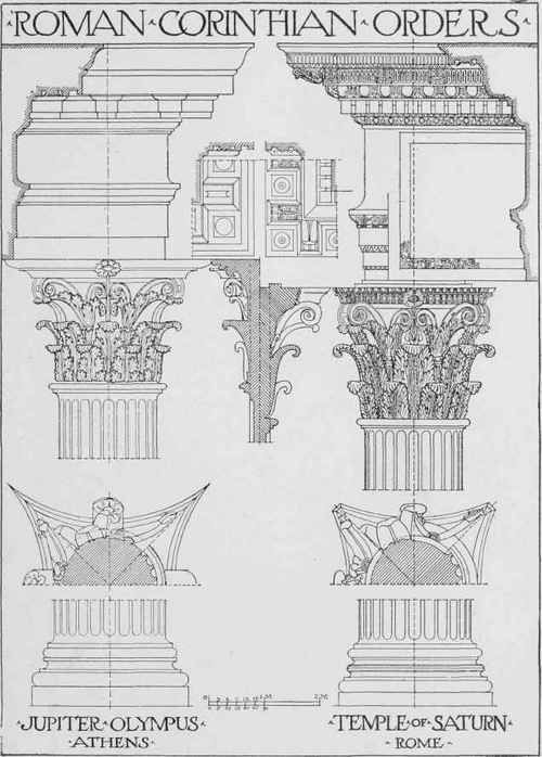 Greek Architecture Drawing classic roman corinthian. transition from greek to roman order