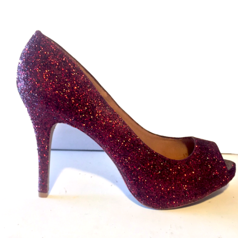 ... check out 4f5cb d39d2 Womens Sparkly Burgundy Maroon Peep Toe Glitter  Heels wedding shoes 10 OFF ... da388ceef