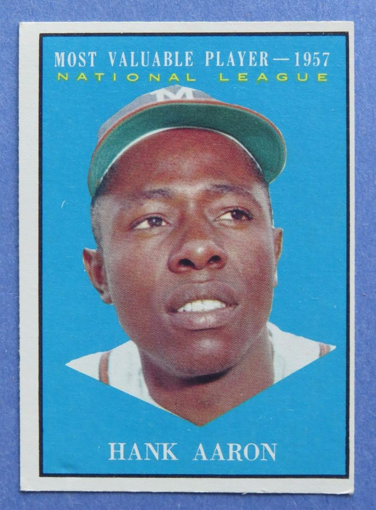 1961 Topps 484 Hank Aaron 1957 Mvp Excellent Condition Milwaukee