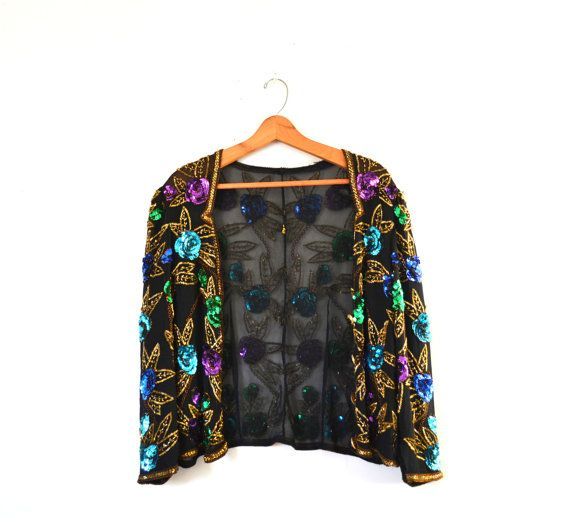 6f06dadc Vintage 80s Sequin Jacket Black Sequin Jacket by founditinatlanta ...