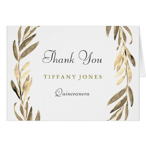 Modern Gold Leaf Black Quinceanera Thank You Card Quinceanera