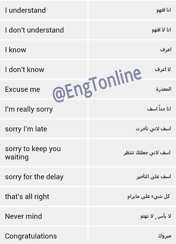 عبارات تستخدم في المحادثات اليومية Learn English Vocabulary English Language Teaching English Language Learning