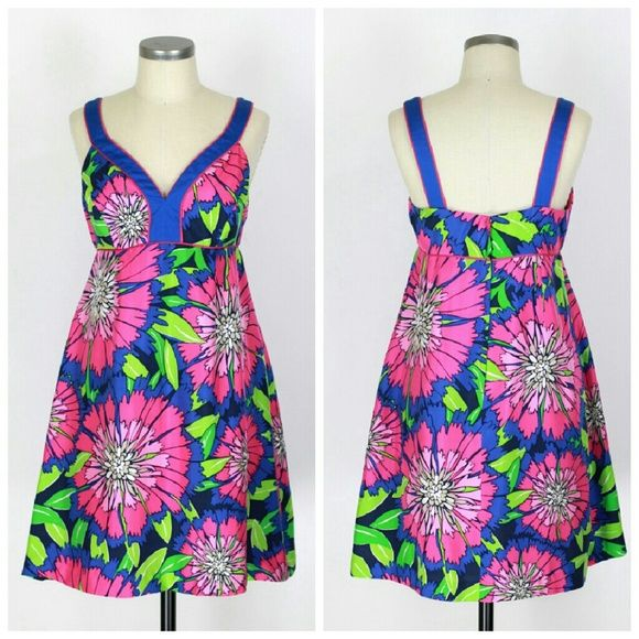 """Lilly Pulitzer silk dress Sz 6. Lilly Pulitzer dress. Lined. Back zip. 100% silk. Cotton lining. Excellent condition,  no flaws. Approx measurements Bust 32.5"""" Length 35.5"""" Waist 30"""" Hips 40"""". Lilly Pulitzer Dresses"""
