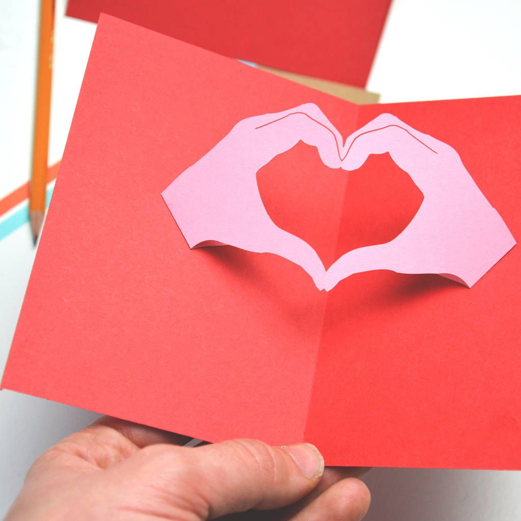 Personalised Pop Up Hand Heart Gesture Valentines Card Card