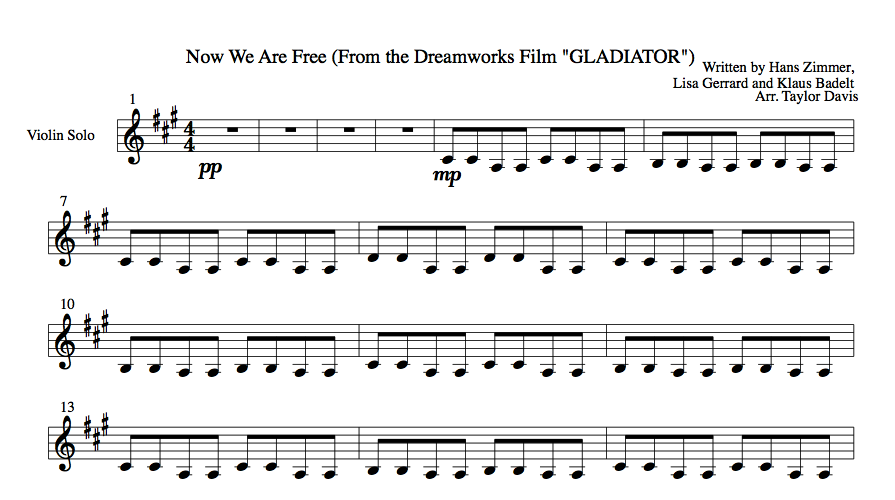 Now We Are Free From Gladiator Violin Sheet Music Violin
