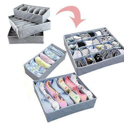 3Pcs Sock Bra Underwear Closet Drawer Organizer Storage Box Bamboo Charcoal  Set