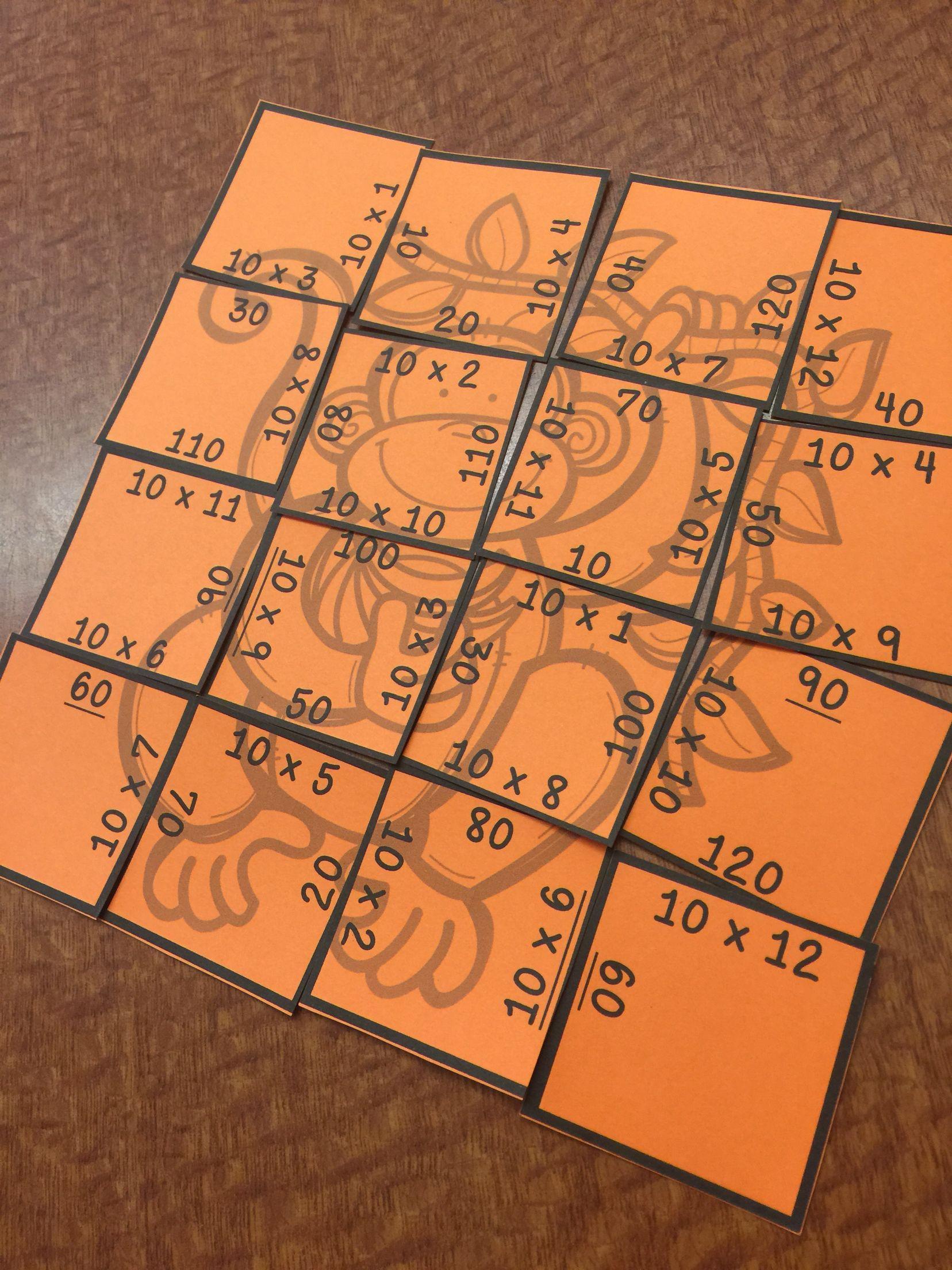 Multiplication Picture Puzzles Animals
