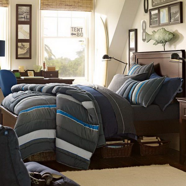 Modern Teenage Boys Bedroom Ideas With Dark Gray Bedding Sets