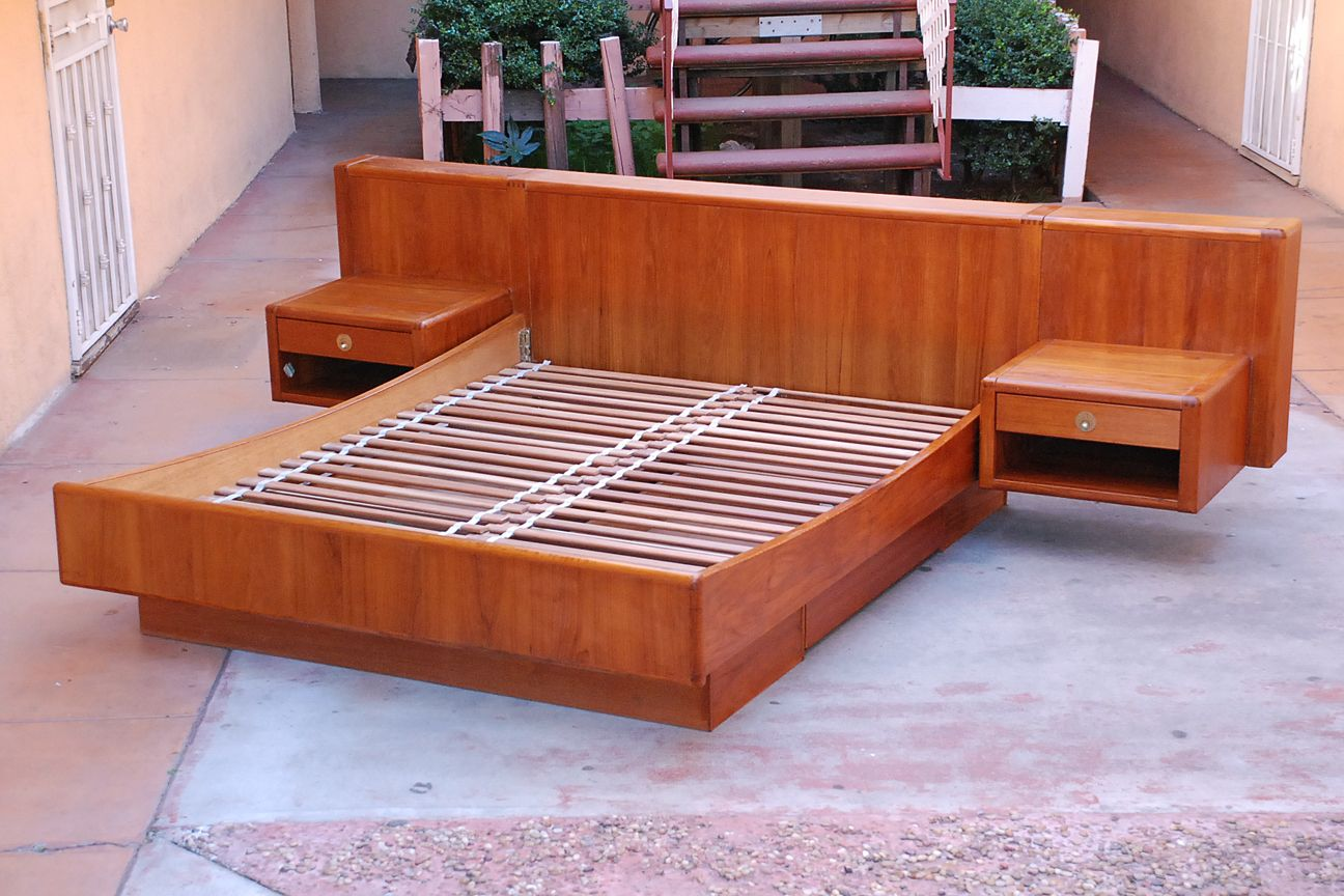 Danish Platform Teak Floating Bed + Nightstands & Storage