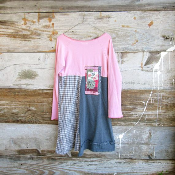 Small Medium Upcycled Clothing / Funky Patch / Eco By