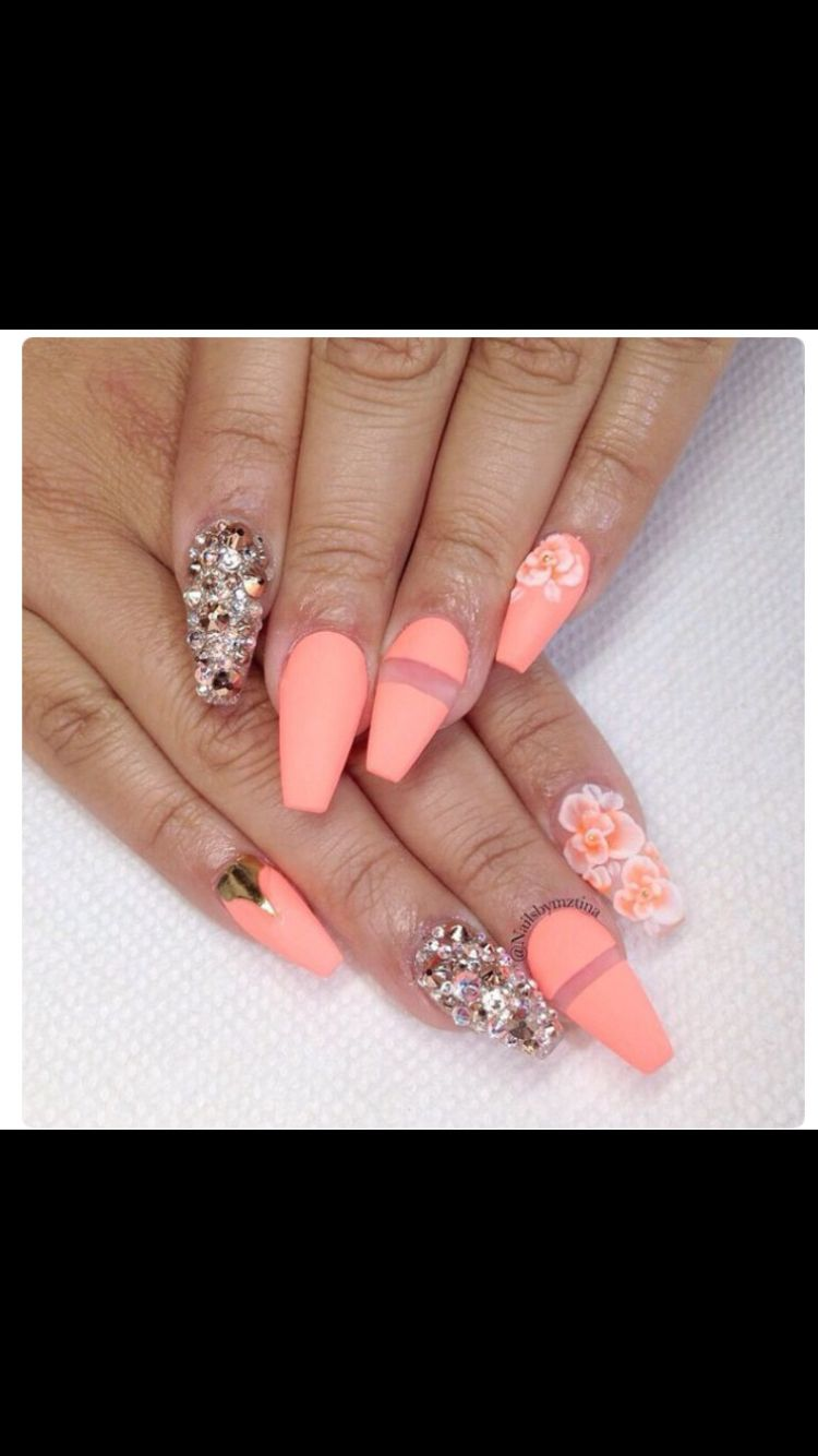 50 Dollars Coffin Shape Nails Gorgeous Nails Neon Nails