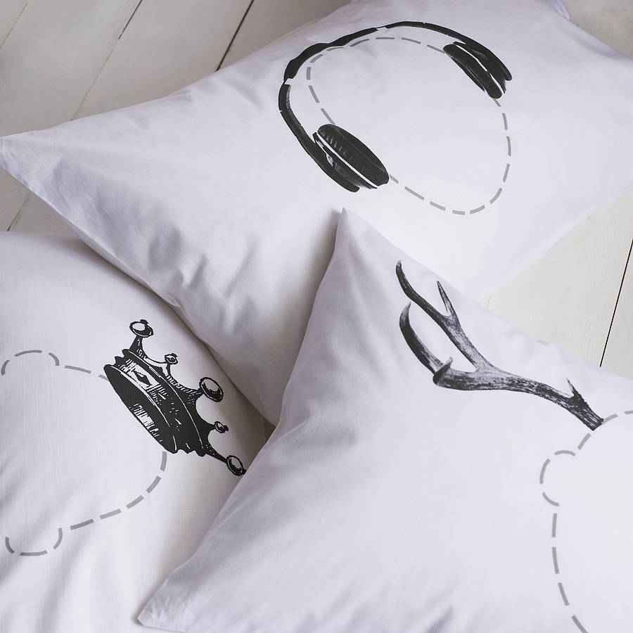 Head Case Pillowcase: available in many designs including: headphones arrow antlers
