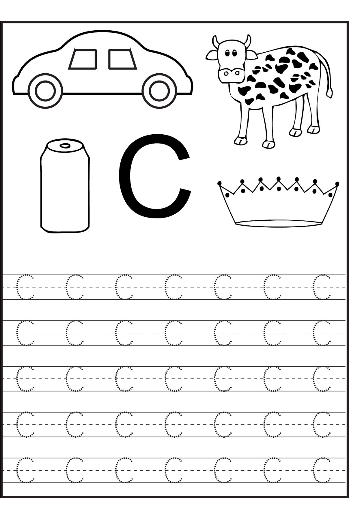 trace the letter c worksheets alphabet and numbers learning kindergarten worksheets. Black Bedroom Furniture Sets. Home Design Ideas