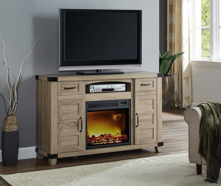 54 Light Brown Rustic Console Electric Fire Place At Big Lots