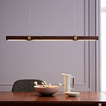 Linear Wood Led Pendant Wood Pendant Light Modern Suspension