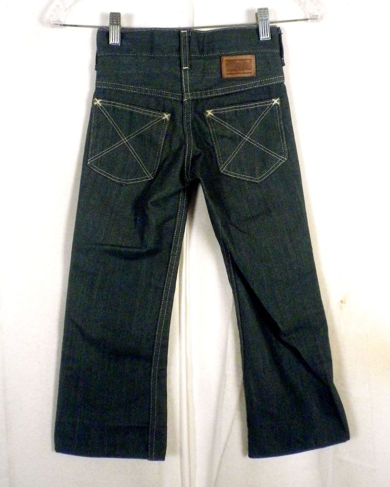 83169a5b vtg 60s 70s Sears Toughskins Green Denim Bell Bottom Jeans slim kids 8 22 X  20