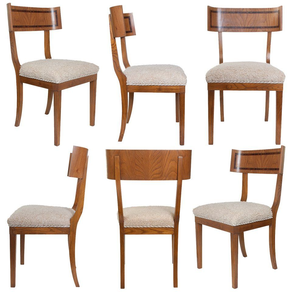 Scandinavian Modern Klismos Dining Chairs In Elm Set Of Six Room ChairsDesk ChairsSide ChairsArt DecoMarble