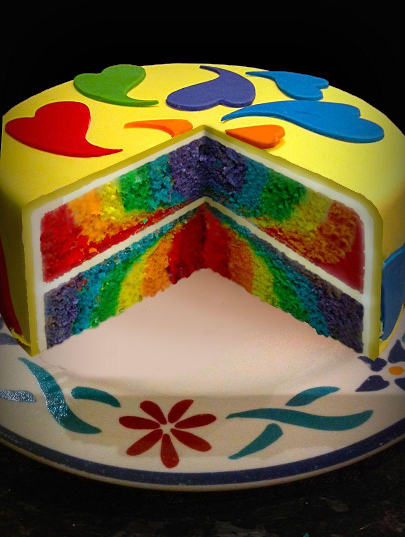 How to make a Rainbow Layer Cake using white chocolate mud recipe ...